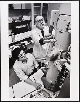 Dr. John Olney and an unidentified man, Department of Psychiatry, Washington University School of...