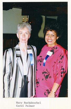 Portrait of Mary Ruckdeschel and Carol Palmer.