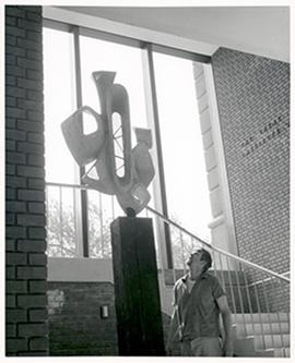 Installation of a sculpture at the Irene Walter Johnson Institute of Rehabilitaiton, Washington U...