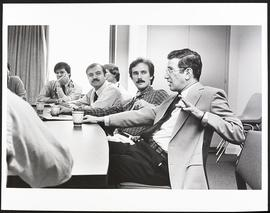 Dr. Burton Sobel in a meeting with unidentified doctors, Department of Medicine, Washington Unive...
