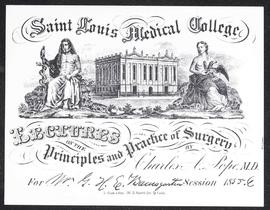 Course card, Lectures on the Principles and Practice of Surgery by Charles A. Pope.
