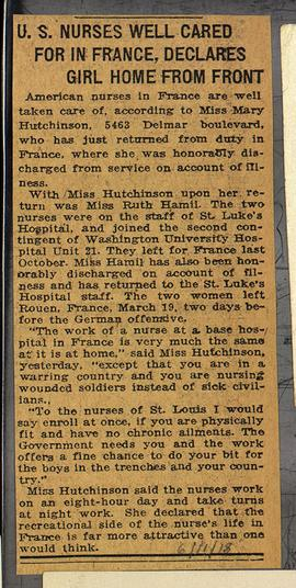 "Newspaper clipping titled, ""U.S. Nurses Well Cared For in France, Declares Girl Home From Fr..."