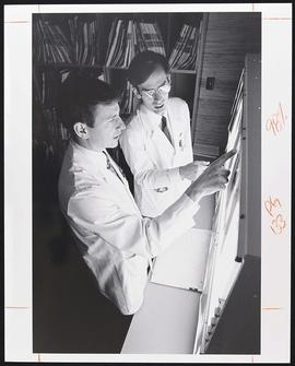 Dr. Gary Shackelford with an unidentified student, Department of Radiology, Washington University...