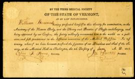 Third Medical Society of Vermont [Burlington, VT]. W. Beaumont's certificate of medical examinati...