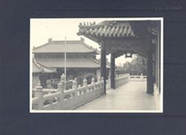 Walkway and portico in the courtyard of Peking Union Medical College, China.