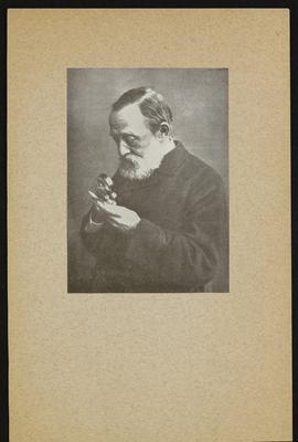 Portrait of Rudolf Virchow examining a specimen with a magnifying glass.