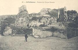 Postcard featuring a view of the Roman circus ruins, Lillebonne, France.