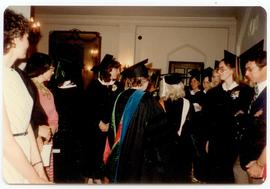 Group of students wearing academic robes, Washington University School of Medicine, Program in Oc...