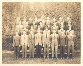E.V. Cowdry in a class portrait, possibly Upper Canada College.