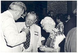 George B. Rader, Jack N. Wiles, and Mildred Trotter at a Medical Alumni Banquet reception.