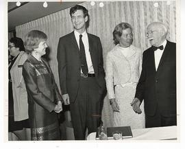 Martha Dodge, William H. Danforth, Elizabeth Danforth, and Park J. White at a reception honoring ...