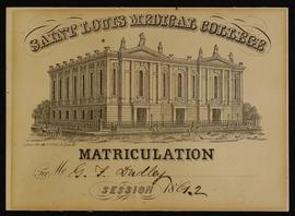 Matriculation card for G.F. Dudley, St. Louis Medical College, Session 1861-62.