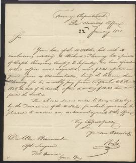 William Lee, Second Auditor's Office, Treasury Department [Washington, DC] to W. Beaumont [Fort H...