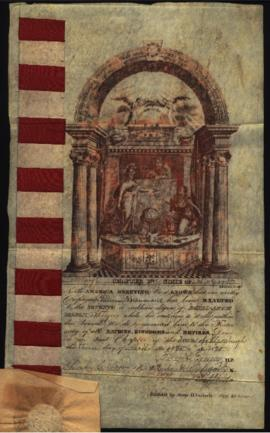 Certificate, Mason of the Seventh Degree, from the Royal Arch Masons [Plattsburgh, NY] to W. Beau...