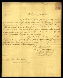 Aaron Ward [Washington, DC] to W. Beaumont, Surgeon to the U. S. Army [Washington, DC] regarding:...