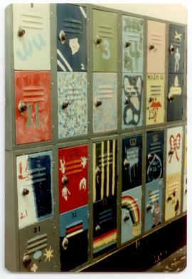 Interior view of painted lockers, Washington University School of Medicine, Program in Occupation...