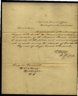 Special order from R. Jones, Adjutant General's Office [Washington, DC] regarding: W. Beaumont's ...