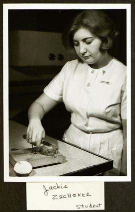 Student Jackie Zechokke cutting a potato, Washington University School of Medicine, Program in Oc...