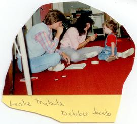 Leslie Trybula and Debbie Jacob interacting with a toddler, Washington University School of Medic...