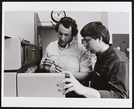 Dr. Steve Bergmann and an unidentified student, Division of Biology and Biomedical Sciences, Wash...