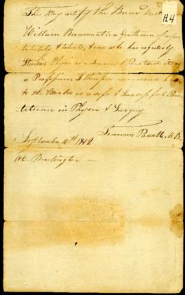 Truman Powell [Burlington, VT]. Letter of recommendation for W. Beaumont. September 10, 1812.