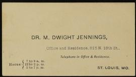 Business card for Dr. M. Dwight Jennings.