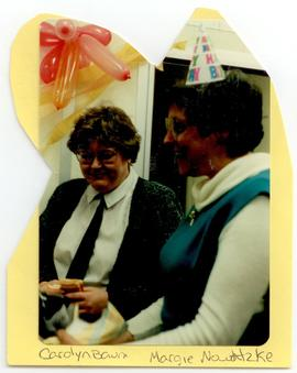 Carolyn Baum and Margie Nowaltzke at Nowaltzke's birthday party, Washington University progam in ...