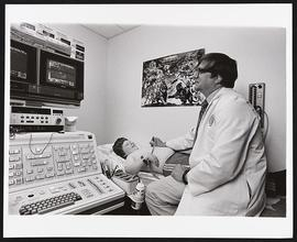 Dr. Arnold Strauss with a patient, Department of Pediatrics, Washington University School of Medi...