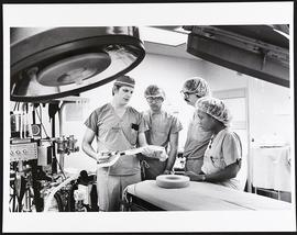 Dr. Lawrence Cobb and three students, Department of Anesthesiology, Washington University School ...