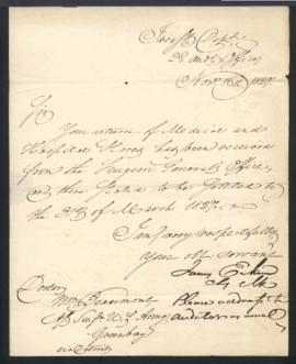 James Eakin, Second Auditor's Office, Treasury Department [Washington, DC] to W. Beaumont [Green ...