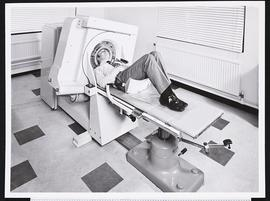 Patient in an EMI-Scanner at Atkinson Morley's Hospital, Wimbledon, London.