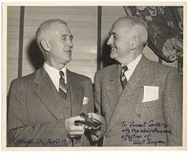 E.V. Cowdry talking to Walter Simpson in Atlantic City, New Jersey.