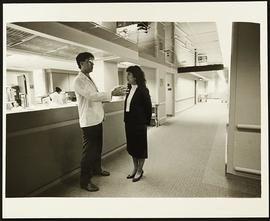 "Jim Schiro and Rebecca Singer on a ""tour"" of Washington University Medical Center."