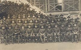 Group portrait of the officers of Base Hospital 21, Rouen, France.