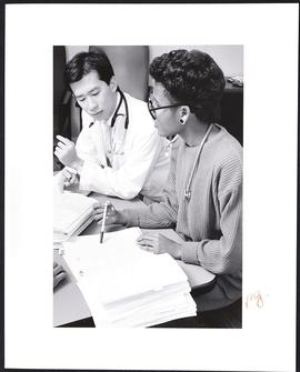 Unidentified doctor with student Mablene Buggs, Department of Psychiatry, Washington University S...