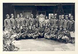 Group portrait with Alice Cowdry and young nurses in uniform at the National Defense Medical Cent...