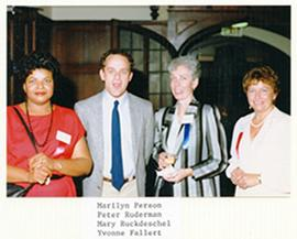 Group portrait of Marilyn Person, Peter Ruderman, Mary Ruckdeschel, and Yvonne Fallert.
