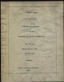Fourth Annual Catalogue of the Officers and Students of the University of the State of Missouri, ...