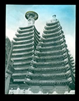 Two multi-tiered towers of a temple, China.