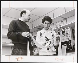 Dr. John A. Cooper and J. Wiechert in a laboratory, Department of Cell Biology and Physiology, Wa...