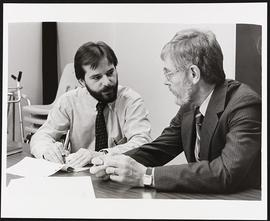 Dr. Michael Brooke and an unidentified man, Department of Preventative Medicine, Washington Unive...