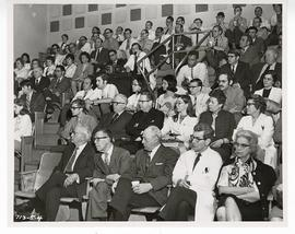 View of the audience watching a lecture in the St. Louis Children's Hospital ampitheater.