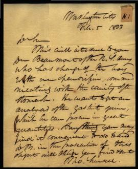 Thomas Sewall [Washington, DC] to J. K. Mitchell [Philadelphia, PA] regarding: letter of introduc...