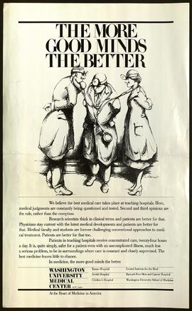"Poster advertising Washington University Medical Center, ""The More Good Minds the Better."""