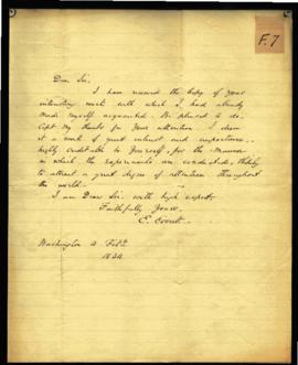 Edward Everett [Washington, DC] to W. Beaumont, regarding: thanks for Experiments and Observation...