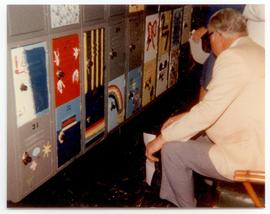 John Corporan judging locker paintings at a Washington University School of Medicine, Program in ...