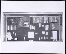 "View of an exhibit case containing a physician's bag and contents, ""A Doctor's Bag Past and ..."
