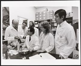 Dr. Paul Lacy with a group of post-doctoral students, Department of Pathology, Washington Univers...