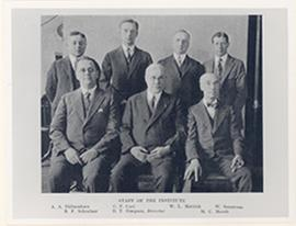 Group portrait of the staff of the Roswell Park Cancer Institute, Buffalo, New York.