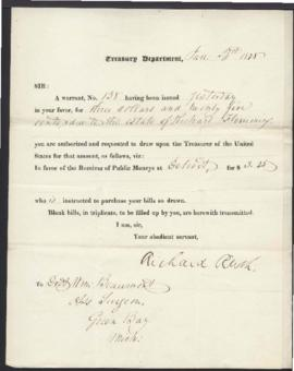 Warrant Number 138 from Richard Rush, Treasury Department [Washington, DC] to W. Beaumont [Green ...